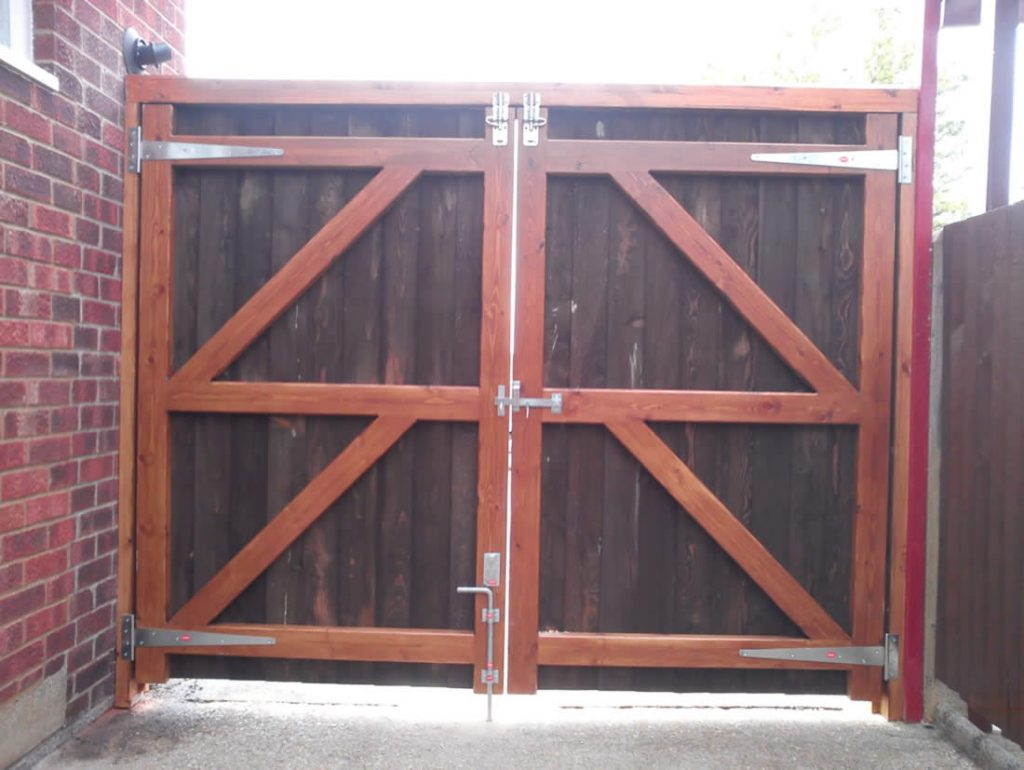 Inside view of driveway gate Bedford SG Fencing supplies